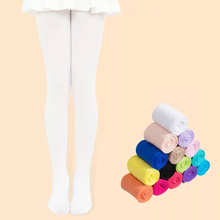 Kids Pantyhose Ballet Dance Tights for Girls Stocking Children Velvet Solid White