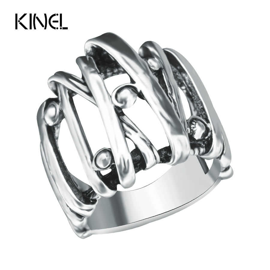2017 New Punk Engagement Ring Vintage Jewelry Wholesale Mixed Transmission Silver Color Rings For Women