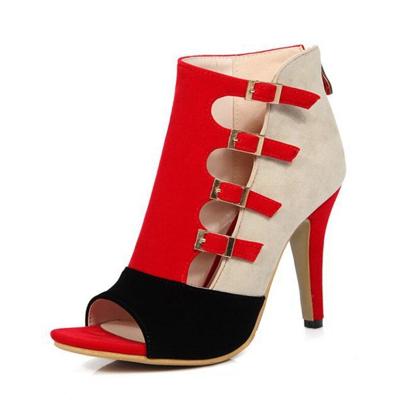 Partie Chaussures Sandales Rumbidzo Nouvelles Femmes Peep Noir Hauts 2017 rouge Toe Pompes Talons Patchwork bleu Boucle K1c3TFJl