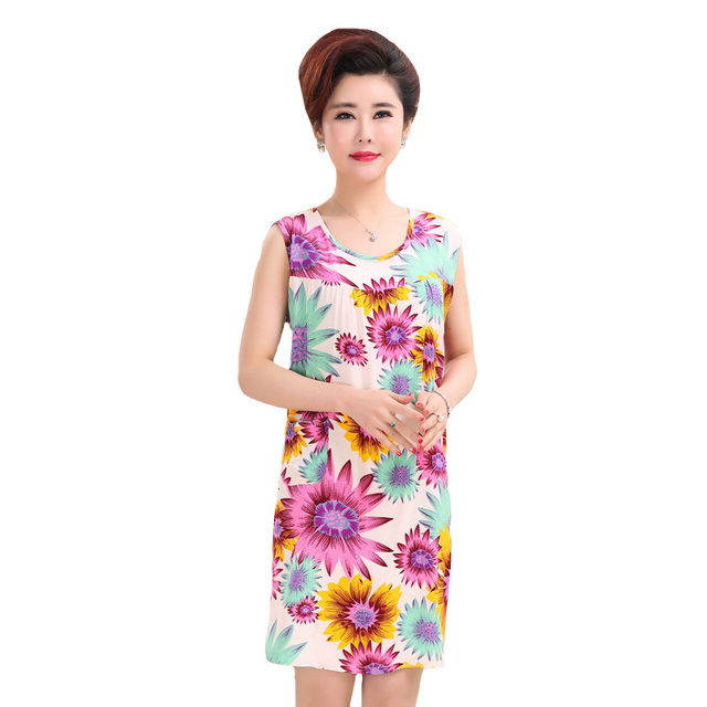 Sleeveless Women Nightgown Sexy Print Floral Nightdress Casual Summer Home  Dressing Gown Cotton Sleepwear Loose Nightshirt b34dc366a