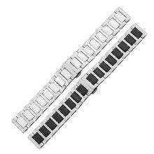 16 мм 18 мм 20 мм керамические и нержавеющей стали ремешок для часов белый черный часы ремешок ремешок бабочка пряжка наручные часы браслет ladys мужчины