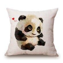 Cute Panda Cotton Linen Throw Pillow Case Cover