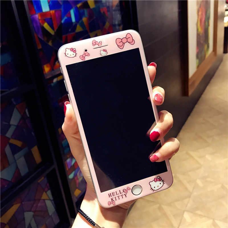 Para o iphone 11 Pro Caso Do iPhone 6 6S 8 7 Plus X Bonito Dos Desenhos Animados Olá Kitty Caixa Do Telefone para iPhone XS Max XR KT Bling Capa Dura de Volta