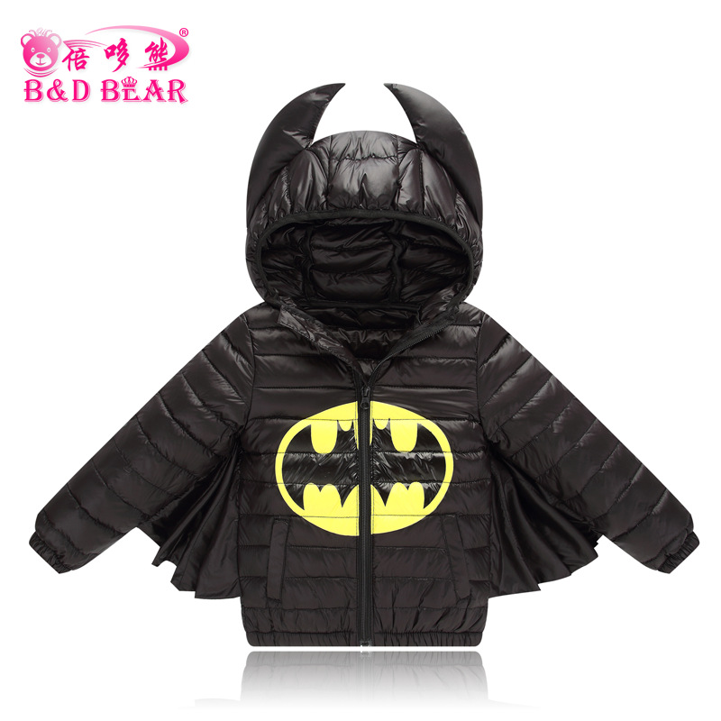 2017 New Kids Warm Coats and Jackets Cute Batman Style Autumn Winter Boy Hoodies Coat Parkas Children's Thin Down Jacket Girl
