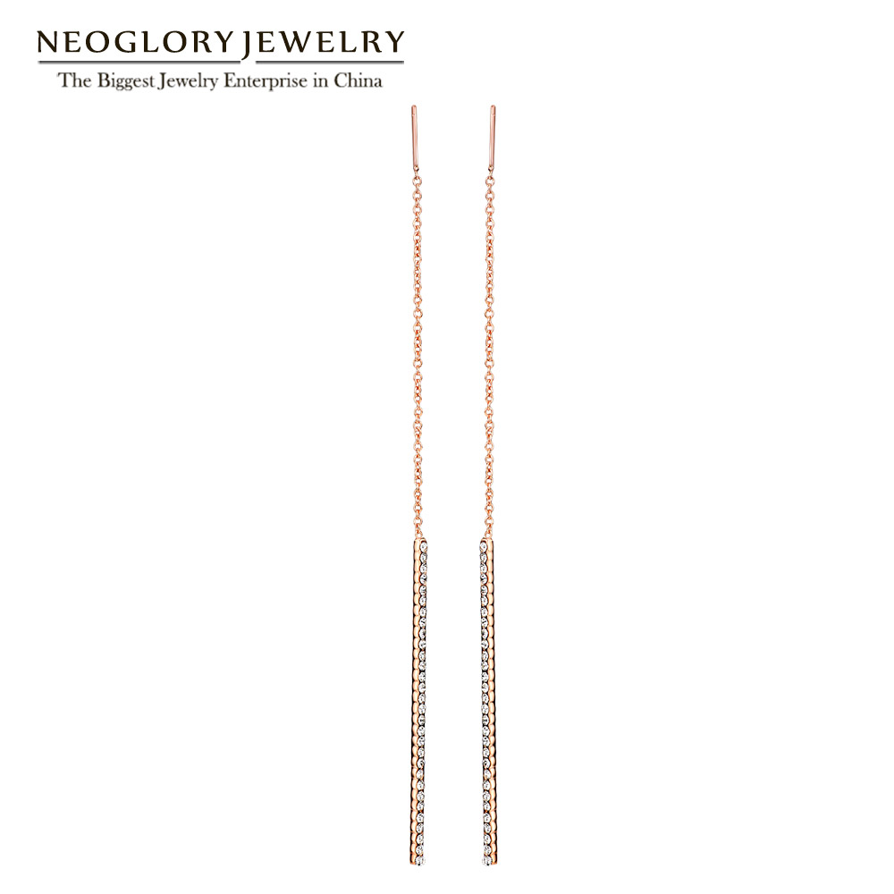 Neoglory Rose Gold Värv Tassel Dangle kõrvarõngad Teen Girls Fashion Brand sünnipäeva kingitus ema võlu Ehted 2017 New Hot Simp-j