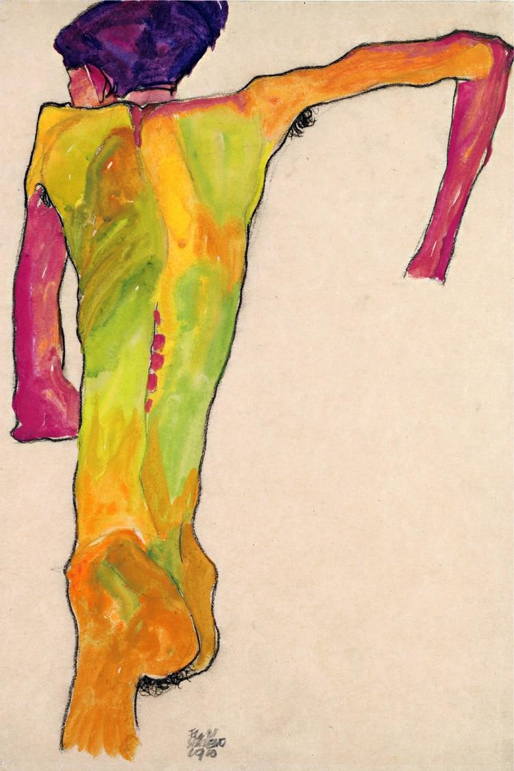 <font><b>nude</b></font> canvas paintings portrait picture modern art home decor giant poster <font><b>Male</b></font> <font><b>Nude</b></font> <font><b>seen</b></font> <font><b>from</b></font> <font><b>Back</b></font> By Egon Schiele