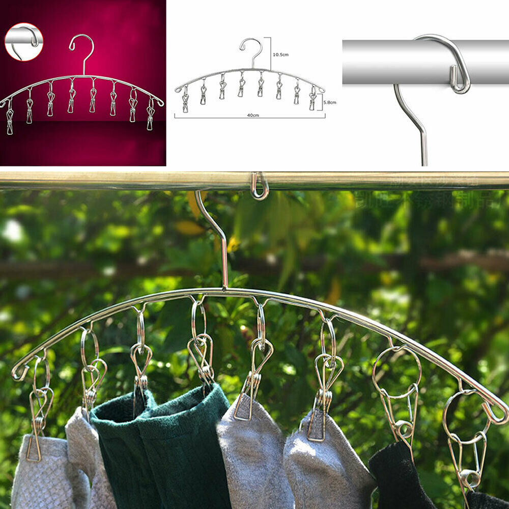 8pcs Stainless Steel Clips Folding Underwear Hanging Bra Sock Laundry Hanger Drying Clothes Rack Dryer Clips Windproof