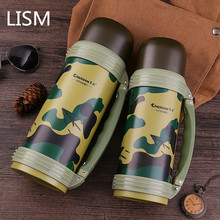 лучшая цена LISM 304 Stainless Steel Thermos Kettle Camouflage Color Thermos Cup Large Capacity Outdoor Portable Adult Travel Thermos