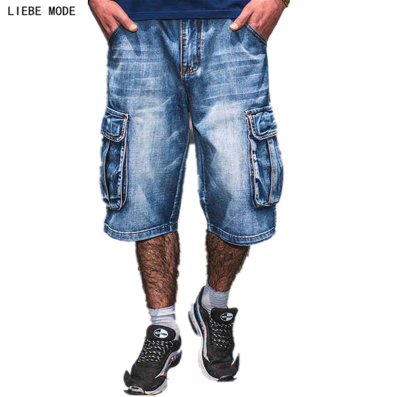 New Brands Mens Summer Hip Hop Denim Baggy Jeans Shorts Men Plus Size Side Pocket Blue Loose Cargo Shorts Jeans For Men Size 46 moruancle men s baggy cargo jeans pants loose straight tactical denim trousers for big and tall size 29 46 side zipper pockets