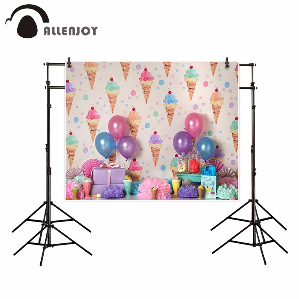 Allenjoy birthday photography backdrop balloon colorful ice cream Dessert table Background photobooth photocall photo studio