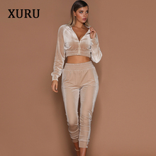 XURU new hot womens velvet two-piece jumpsuit sports suit ladies sportswear casual