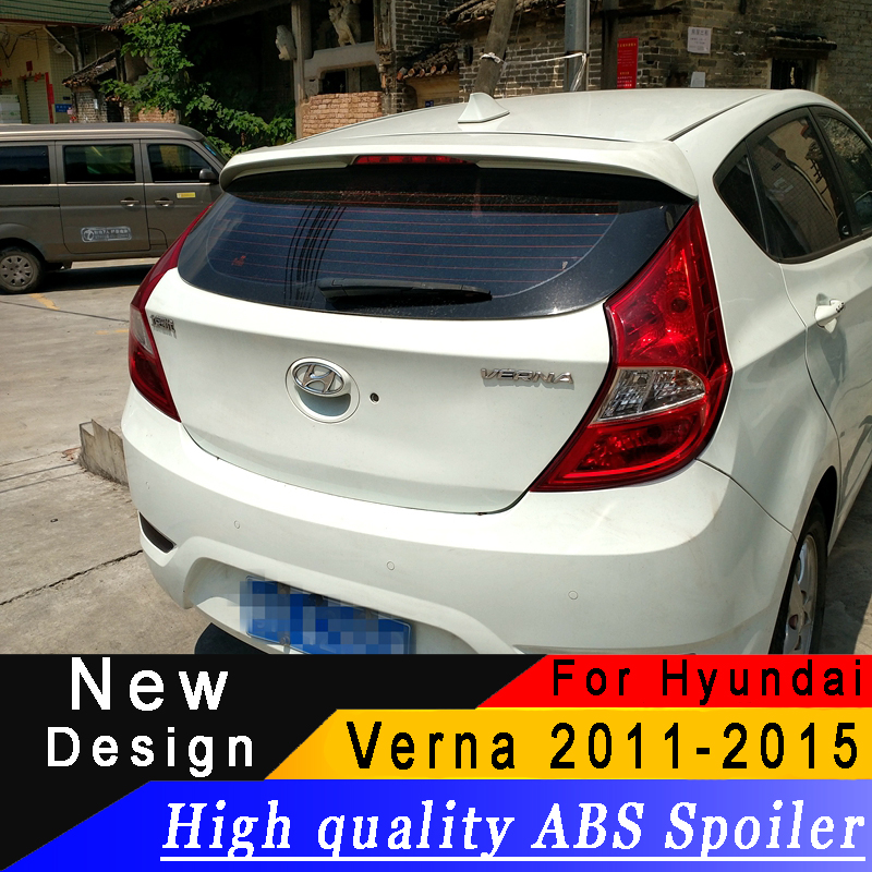 For Hyundai Verna 2011 to 2015 High quality ABS material Hatchback Spoiler Primer or any color