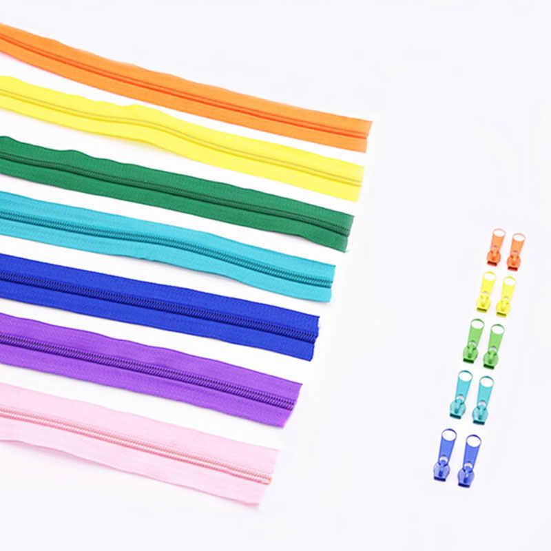 TFGUOqun Sencillo y Elegante 5 Metros 25 Colores Cremalleras de Bobina de Nylon con 10pcs Auto Bloquear con Cremallera para Coser Color : 101 White, Length : 5 Meters