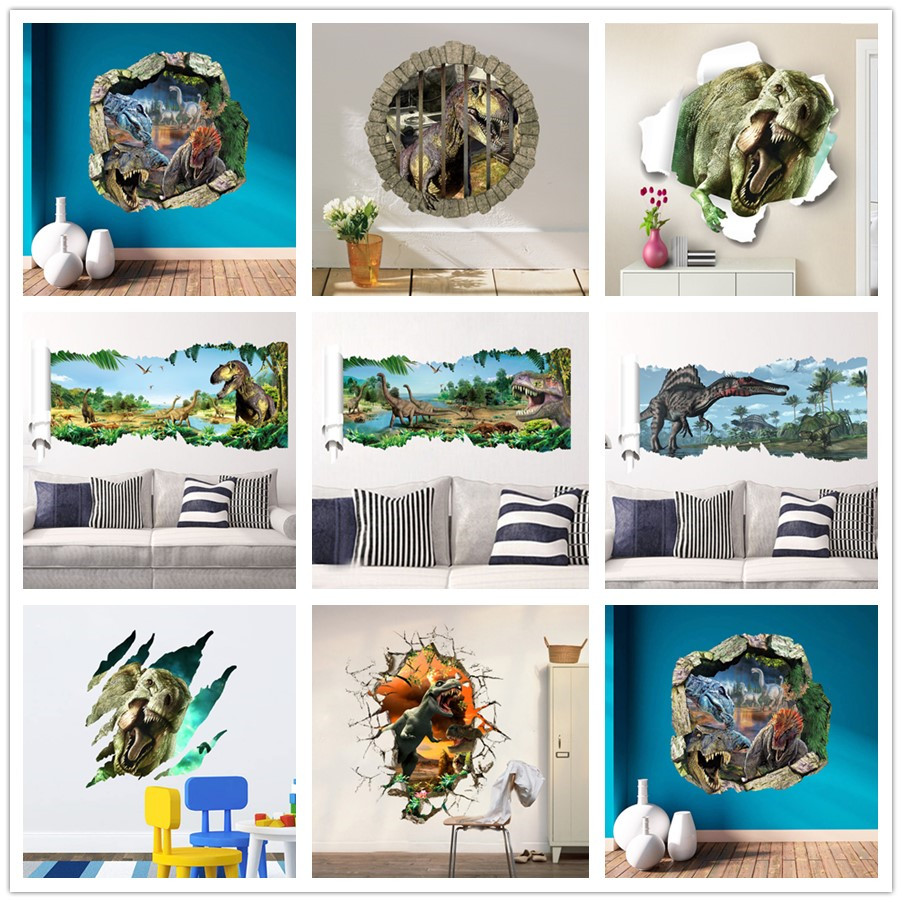 % 3d dinosaurs through the wall stickers jurassic park home decoration diy cartoon kids room wall decal movie mural art Poster