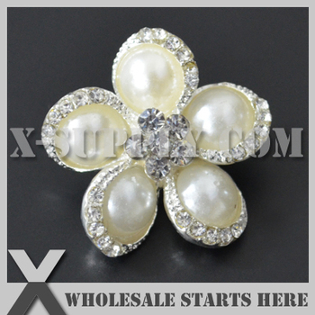 DHL Free Shipping Pearl Rhinestone Embellishments Button with Shank for Wedding Invitation,Brooch Bouquet,Flower Center