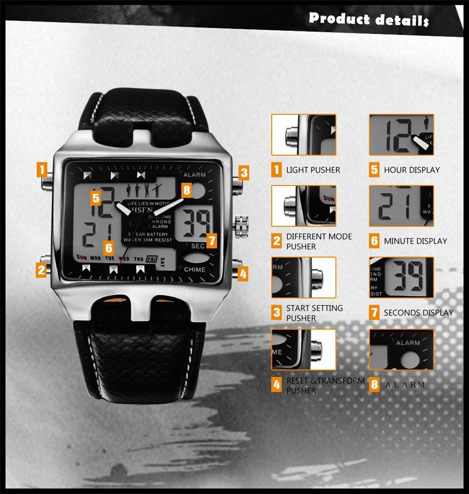 Hot Fashion OHSEN Brand Men Sports Watches Analog Casual Quartz 3ATM Waterproof Sport Military Watch Men Relogio Male Clock Gift (14)