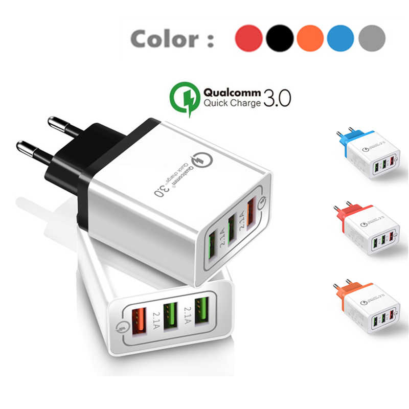 Pengisian Cepat 3.0 Usb Charger 5V 2.4A QC3.0 Cepat Pengisian USB Dinding Charger untuk Iphone Samsung Xiaomi Ponsel charger 3 USB