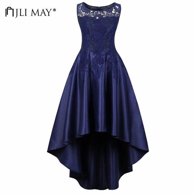 JLI MAY Women s Floral Lace Satin Party Dresses O-Neck Sleeveless Dovetail  Long Asymmetrical Vintage Evening Elegant Plus Size ffdf631de8c2