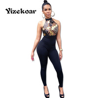 The latest spring hot sales fashion design sexy bare back piece pants Jumpsuits hollow out sequinned hanging neck tight SC026