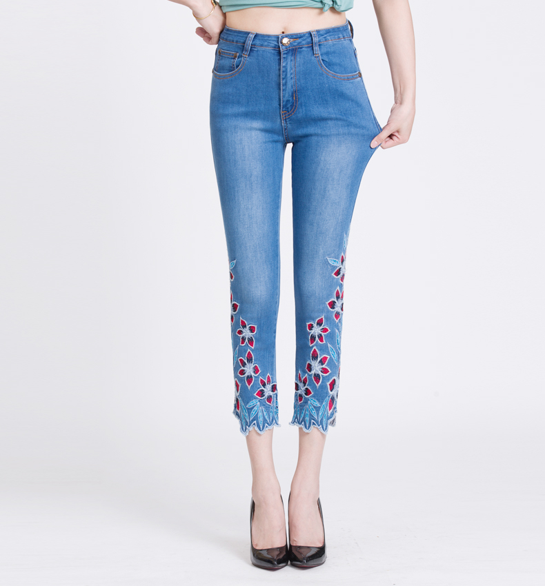 KSTUN FERZIGE Summer Jeans Women Embroidery High Waist Stretch Floral Push Up Skinny Slim Fit Pencils Calf-Length Pants Light Blue 36 18