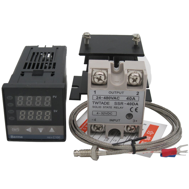 US $23 55 |High Quality Digital PID temperature Controller Thermostat 100  240V AC with SSR 40DA solid state Relay+heat sink +K Thermocouple-in