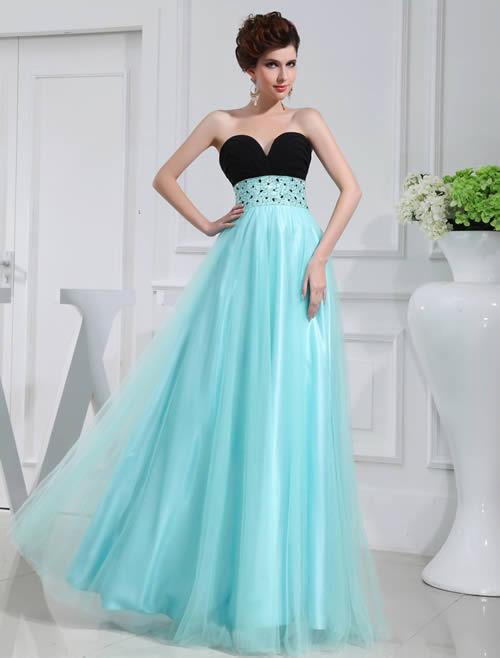 2016 robe de Bandage Aqua col en V avec perles de mariée robes de bal robe de demoiselle d'honneur de fête