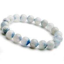 Высококачественный натуральный синий дамортиерит кварцевый рутилированный Кристалл для женщин 11 мм, круглые бусины Редкий Камень Браслет из Бразилии AAAA