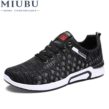 MIUBU New Summer Men Mesh Shoes Casual Breathable Light For Man Lace-up Network Flats Comfortable Outdoor