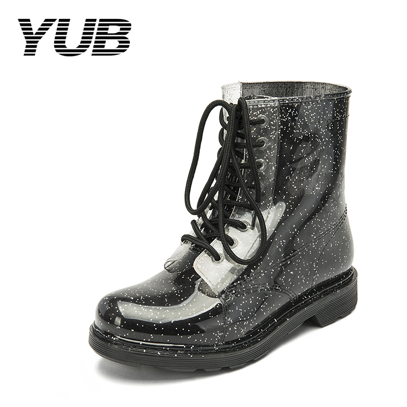 YUB Brand Women Rain Boot with Lace-Up Rubber Sole Waterproof PVC Ankle Short Rainboots Martin Shoes Design for Women Size 7-10 yub brand waterproof rain boots for women with solid color slip on winter mid calf shoes for girls