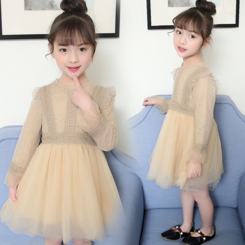 Girls Dress 2018 New Autumn Casual Style Cartoon Champagne Long Sleeve Wool Bow Design For Princess Dress Girls Clothes цены