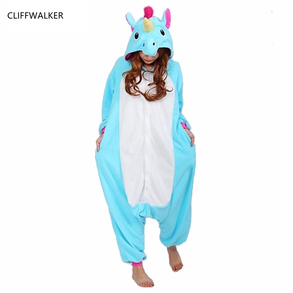 Dropshipping Winter Pink Horse Pajama Sets Cartoon Sleepwear Women Pajama Flannel Animal Stitch Panda Horse Tigger Pajamas