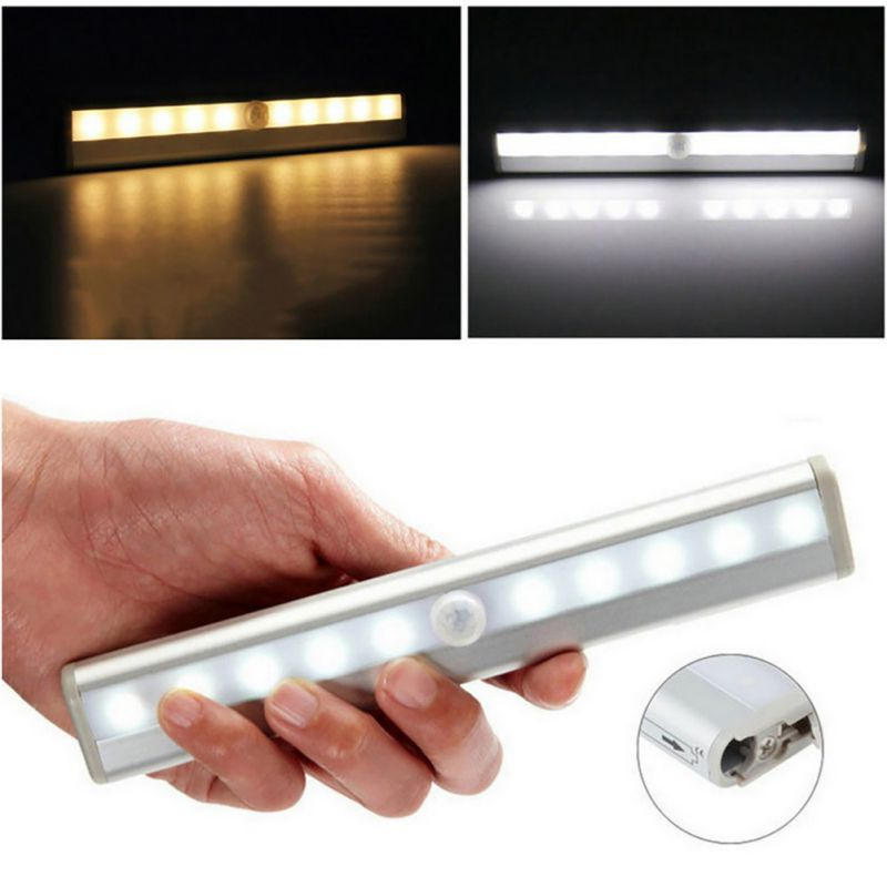 10 LED Bright Auto PIR Motion Sensor Light Lamp Bulb Drawer Cabinet Room Toliet ...