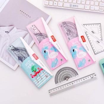 4 pcs/set Novel creative flamingo Straight triangle ruler drawing set Office School Supplies Child Drafting Supplies