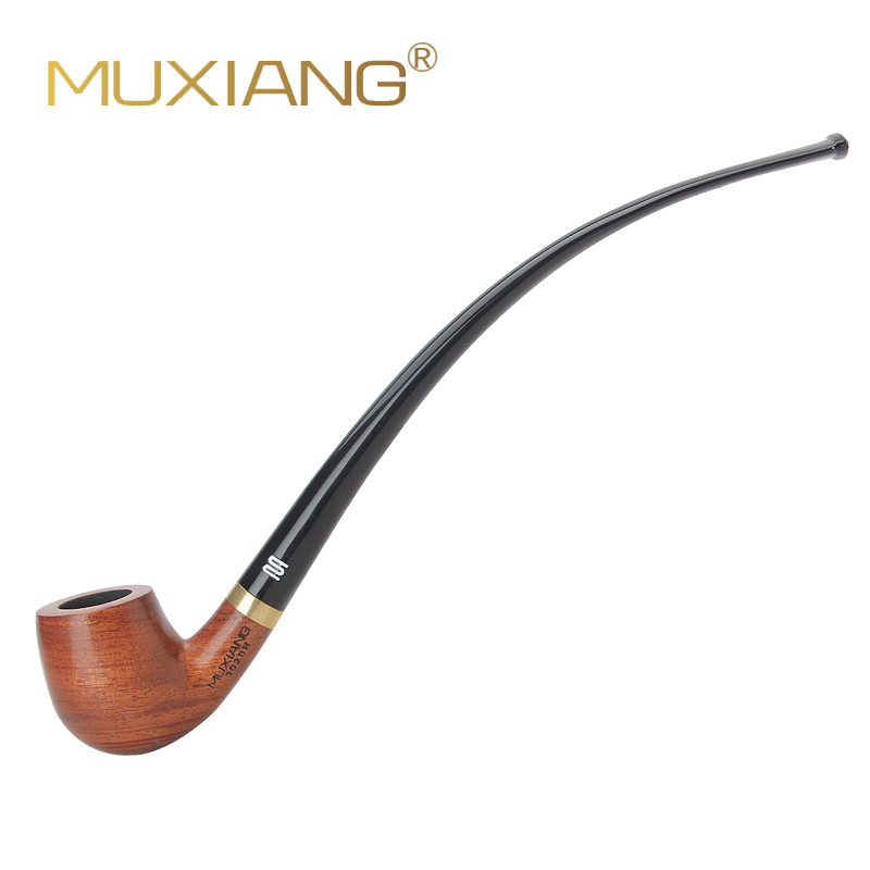 RU-MUXIANG Churchwarden Long Stem Kevazingo Wood Smoking Pipe 3mm Filter Wooden Tobacco Pipe Acrylic Mouthpiece