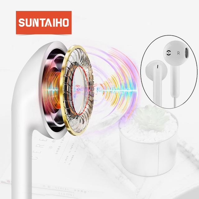 Suntaiho Earphone Wired Headset for iPhone 6 7 plus Mic 3.5mm In-Ear for MP3 MP4 Earphone for Xiaomi Earbuds Stereo Sport Headse