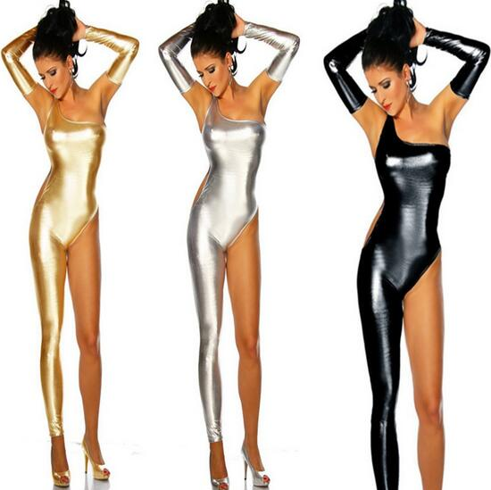 3 Color Sexy One-Shoulder Patent Leather Bronzing Spandex Bodysuit Body Sexy Femme Uniform Dance Performance Costumes CE183