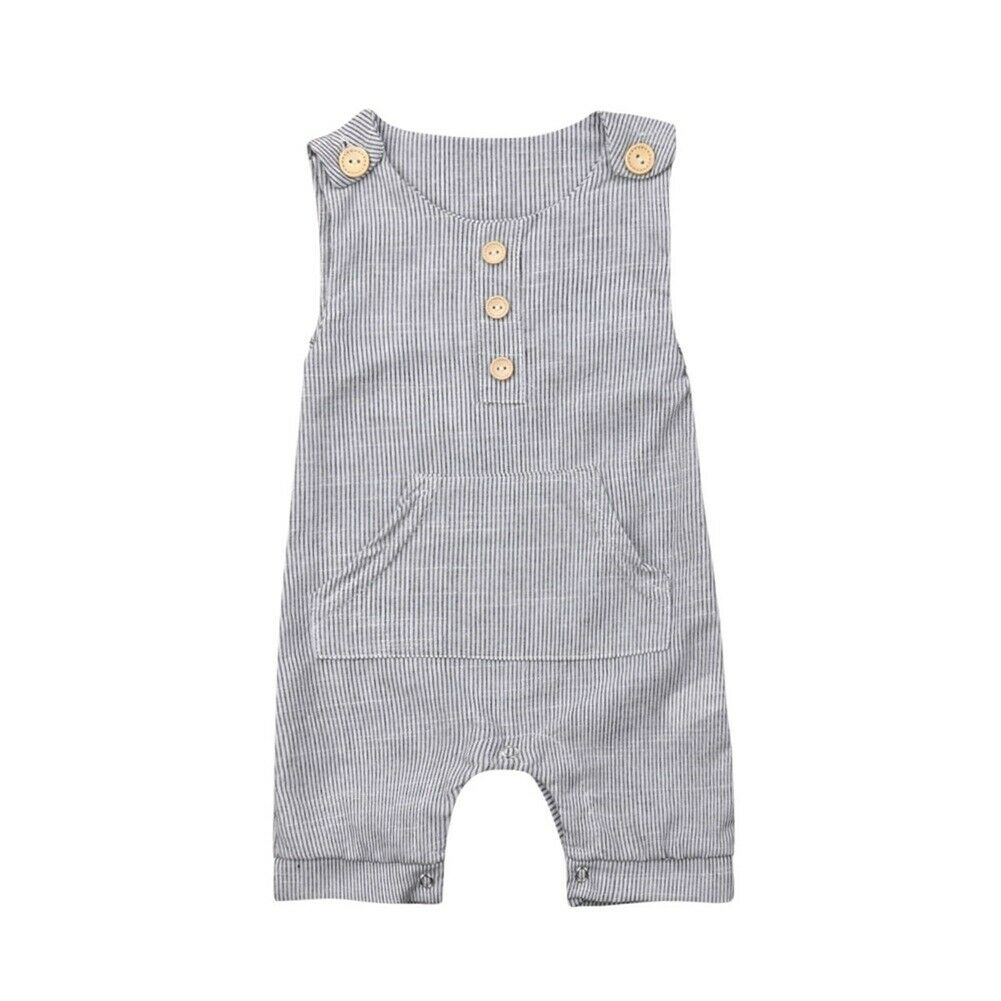 0-18M Casual Newborn Baby Boy Girl Sleeveless Bottom Striped   Romper   Jumpsuit Playsuit Casual Summer Clothes