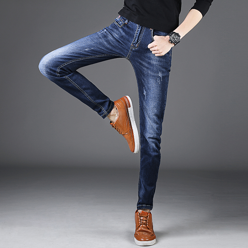 цены 2017 Summer Thin Ripped Jeans Men Korean Mens Skinny Jeans Man Slim Fit Long Stretched Men's Denim Pants Casual Jeans Male 27-36