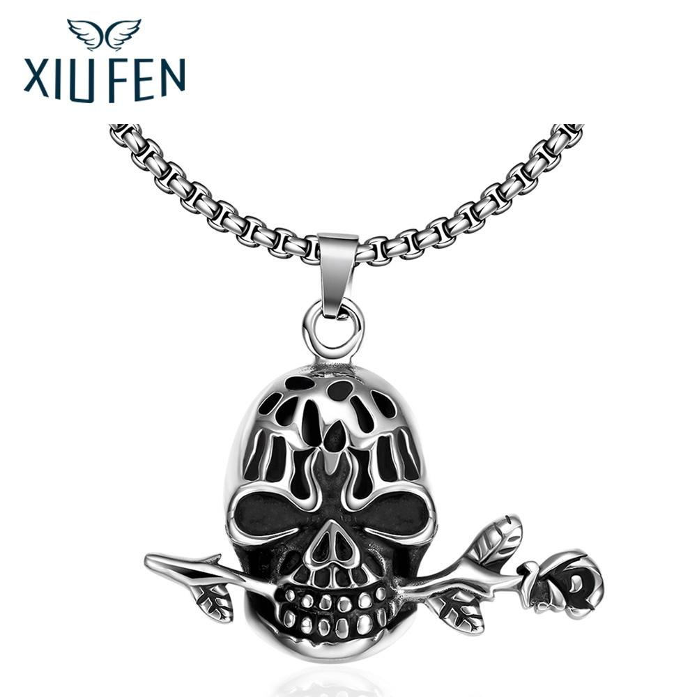 XIUFEN Necklace Retro Silver Stainless Steel Fashion Necklace Skull Head Pendant Christmas Birthday Black Friday Gift ZK30