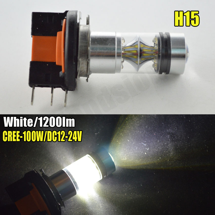 Super Bright High Power Pair 2x100W H15 20SMD LED Fog Lights Canbus Auto Car Vehicles Led DRL Daytime Running Light Fog Lamp free shipping 2x80w h7 canbus error free cree xbd chips super bright high power led car fog light auto fog lamp bulb