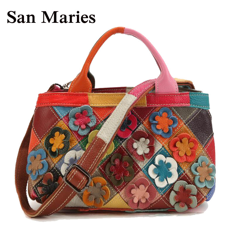Spring Summer Candy Color Casual Shoulder Bags Women Small Bag Ladies Girls Flowers Handbags Colorful Patchwork