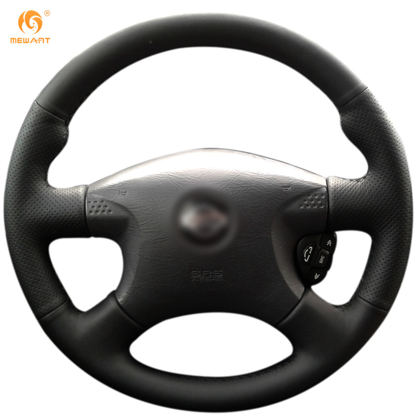 MEWANT Black Artificial Leather Car Steering Wheel Cover for Nissan Almera 2000-2003