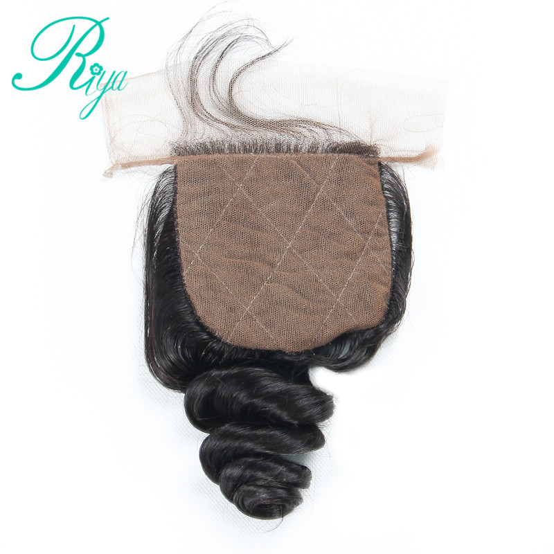 Riya Hair Silk Base Closure Loose Wave Free Part Brazilian Remy Human Hair 4x4 Middle Brown Lace Bleached Knots With Baby Hair-in Closures from Hair Extensions & Wigs    1