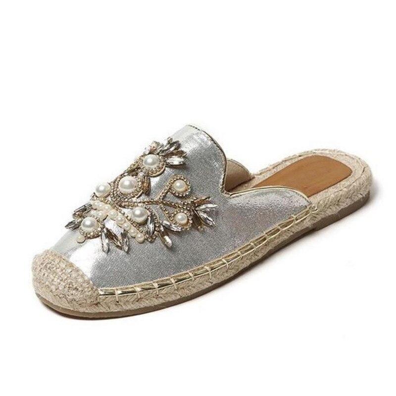 ฤดูร้อนลำลองแบนJeweledรองเท้าแตะผู้หญิงฟางพื้นสาวส้นล่อแบนมุกดอกไม้ปัดพลิกกลางแจ้งเลื่อนรองเท้าแตะฤดูร้อน-ใน รองเท้าใส่ในบ้าน จาก รองเท้า บน   2