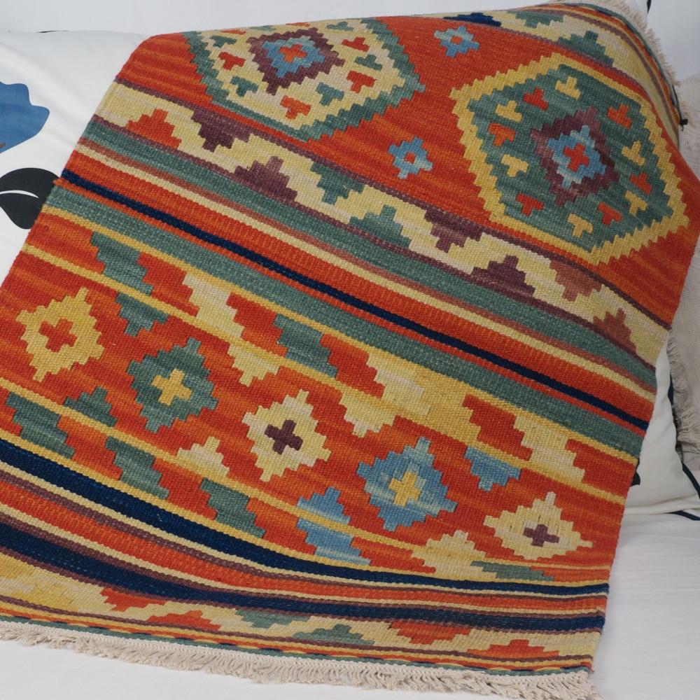100% Wool Handmade Woven Orange Kilim Carpet Turkish