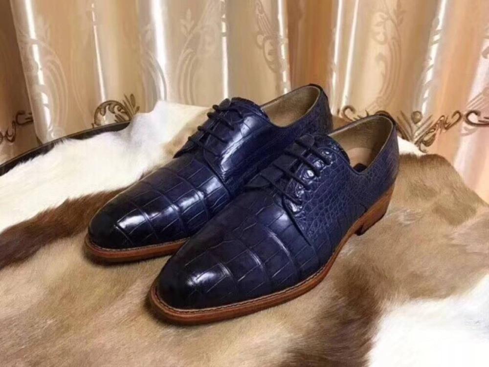 цена на 100% Genuine real crocodile belly skin men shoe durable solid crocodile skin men business shoe with 2 colors mixed deep blue
