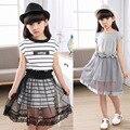 Высокое качество! 2016 новые летние дети мода платье девушки короткими рукавами детской летней одежды полосатый платье принцессы