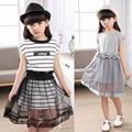 Alta calidad! 2016 nuevos niños del verano de moda muchachas del vestido vestido de manga corta niño de verano de rayas vestido de la princesa