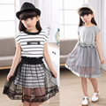High quality!2016 New summer children fashion dress girls short-sleeved Dress Child Summer Clothes striped princess dress