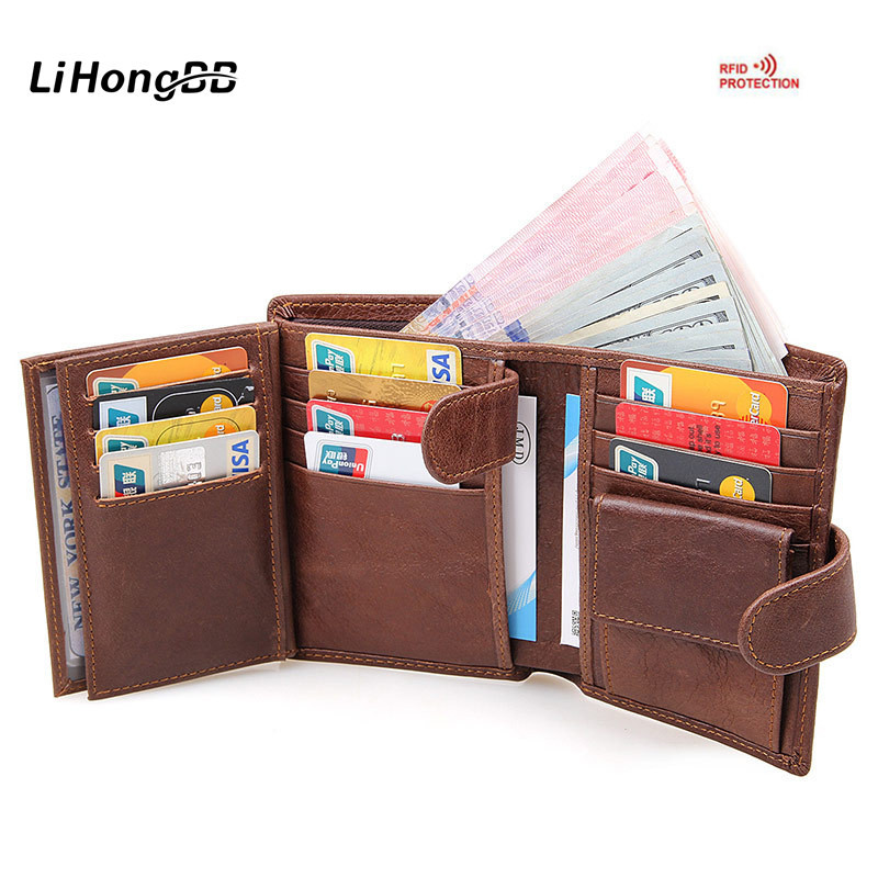 RFID Wallet Men Genuine Leather Short Wallet Vintage Purse Men Big Capacity Card Holder Hasp Coin Pocket Money Purse Brown Black genuine leather mens wallet black hasp men purse with zipper coin pocket portfolio male short card holder vertical men wallets